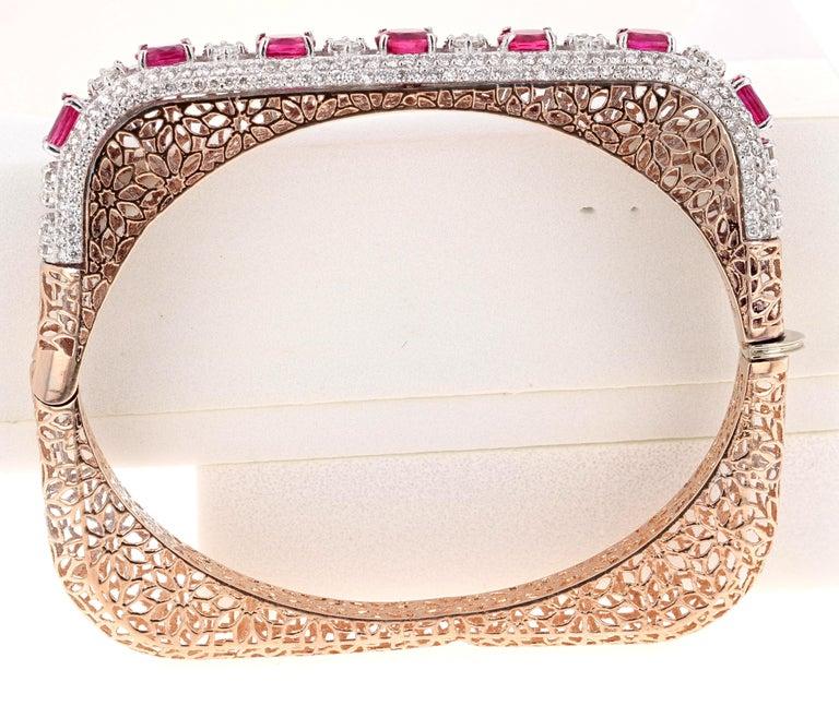 Oval Cut 5.79 Carat Natural Ruby Diamond 14 Karat Rose Gold Bangle For Sale