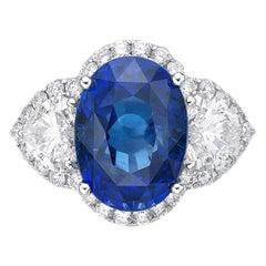 5.79 Carat Sri Lanka Sapphire GRS Certified Non Heated Diamond Ring Oval Cut