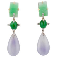 57.99ct Lavender, Green, Convex Pale Green Jade Earrings, John Landrum Bryant