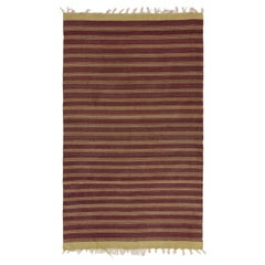 5.7x9.2 Ft Vintage Striped Handwoven Turkish Kilim 'Flat-Weave', All Wool