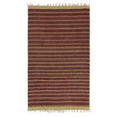 5.7x9.2 Ft Vintage Striped Handwoven Turkish Kilim 'Flat-Weave', All Wool