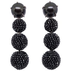 58 Carat Black Diamond Tahiti Pearl White Gold Handcrafted Detachable Earrings