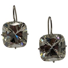 58 Carat Cushion Cut Diamond Earrings GIA