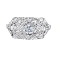 .58 Carat Diamond Art Deco Platinum Ring