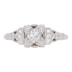 .58 Carat European Cut Diamond Art Deco Ring, 18 Karat White Gold Vintage