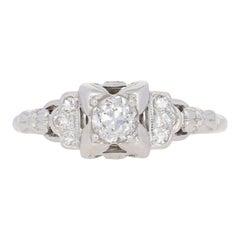 .58 Carat European Cut Diamond Art Deco Ring, 18 Karat White Gold Vintage
