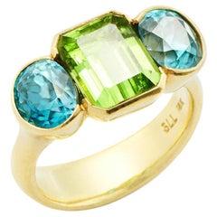 Susan Lister Locke 5.8ct Fine Blue Zircon & 4.07ct Peridot Ring Set in 18K Gold