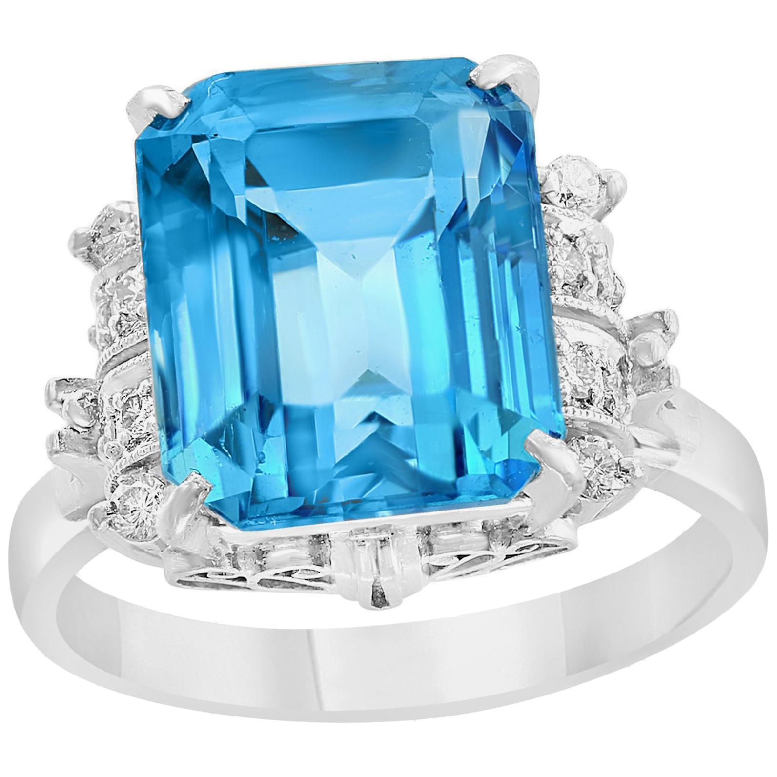 5.8 Carat Finest Blue Topaz Diamond Platinum Ring Estate