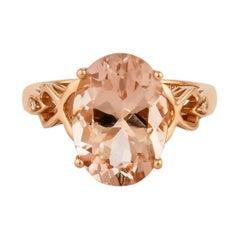 5.8 Carat Morganite and Diamond Ring in 18 Karat Rose Gold