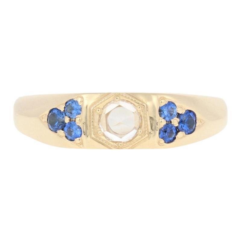 .58 Carat Rose Cut Diamond and Sapphire Ring, 14 Karat Yellow Gold