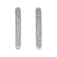 .58 Carat Round Brilliant Diamond Earrings, 18k Gold Pierced Inside-Out Hoops