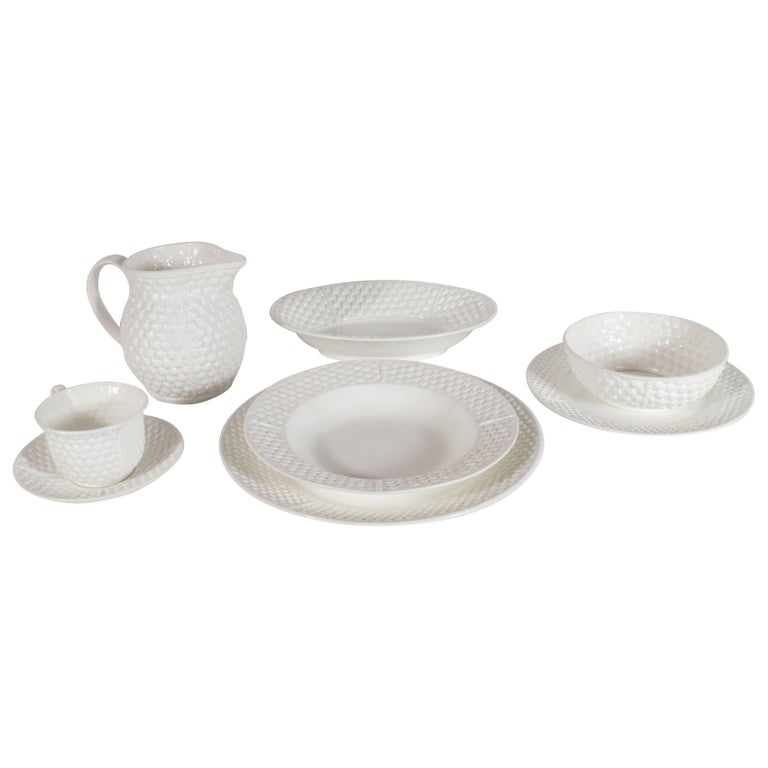 58 Piece Porcelain Basketweave Pattern Dish Set by Tiffany & Co.