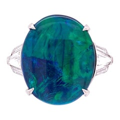 5.80 Carat Black Opal and Diamond Platinum Cocktail Ring Fine Estate Jewelry