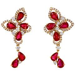 5.80 Carat Crimson Ruby Diamond Cocktail Earring