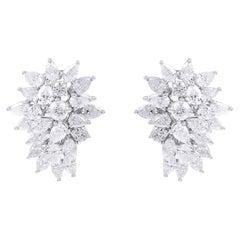 5.80 Carat Diamond 18 Karat White Gold Cluster Earrings