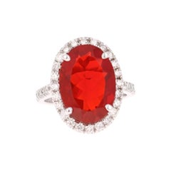 5.80 Carat Fire Opal Diamond 14 Karat White Gold Bridal Ring