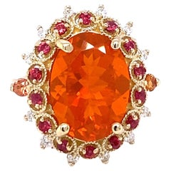 5.80 Carat Fire Opal Diamond 14K Yellow Gold Cluster Ring
