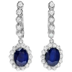 5.80 Carat Natural Sapphire and Diamond 14 Karat Solid White Gold Earrings
