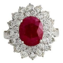 5.80 Carat Ruby 18 Karat White Gold Diamond Ring