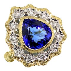 5.80 Carat Tanzanite in 18 Karat Hand Engraved Ring, Handmade in Italy