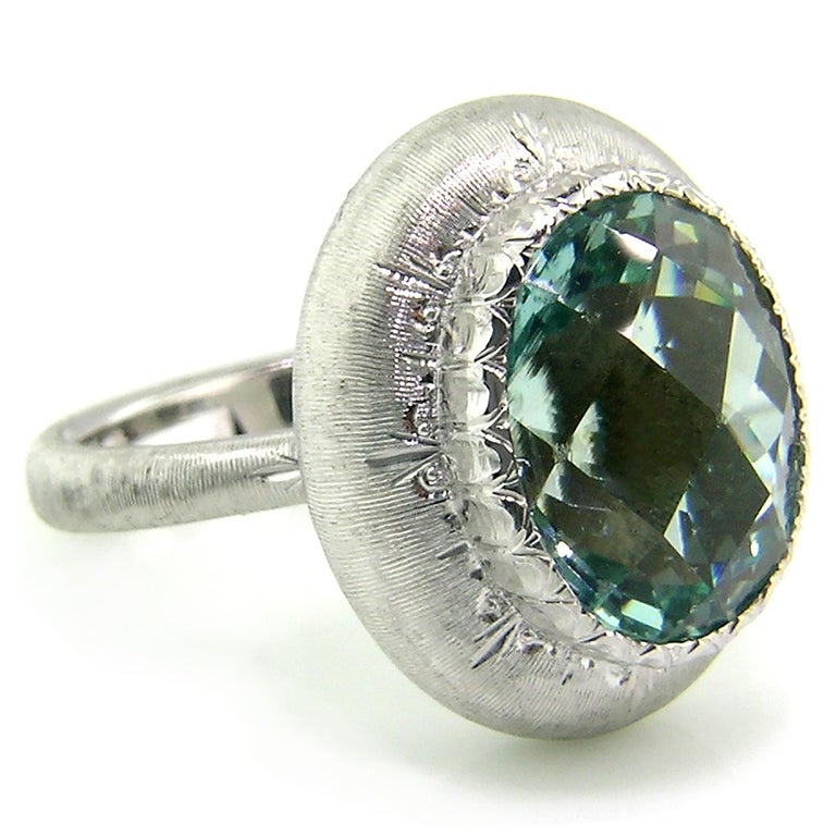 5.80ct Aquamarine in 18kt Ring, Handmade and Engraved in Florence, Italy In New Condition For Sale In Lynchburg, VA