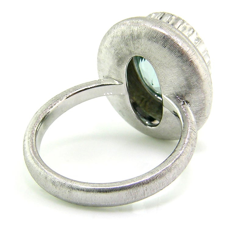 Women's 5.80ct Aquamarine in 18kt Ring, Handmade and Engraved in Florence, Italy For Sale