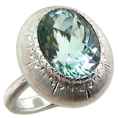 5.80ct Aquamarine in 18kt Ring, Handmade and Engraved in Florence, Italy