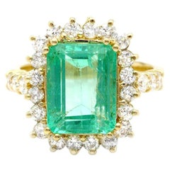 5.80ct Natural Emerald & Diamond 18k Solid Yellow Gold Ring