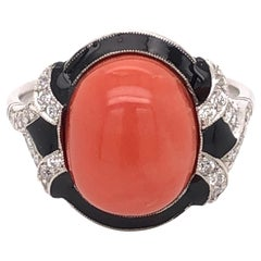 5.81 Carat Coral Diamond Enamel Art Deco Style Platinum Ring Estate Fine Jewelry