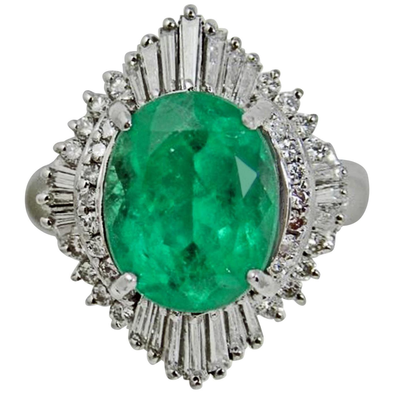 Vintage Fine Colombian Emerald & Diamond Engagement Platinum Ring