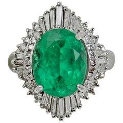 5.81 Carat Fine Colombian Emerald Diamond Platinum Engagement Estate Ring