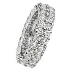 5.81 Carat Natural 2-Row Diamond Eternity Ring Band G SI 18 Karat White Gold
