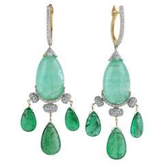 58.18 Carat Emerald Diamond 18 Karat Gold Earrings