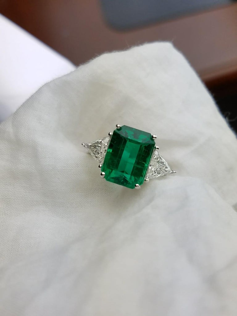 5 82 Carat Emerald And Diamond Three Stone Engagement Ring