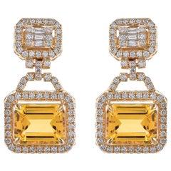 5.82 Carat Honey Quartz and Diamond 18 Karat Yellow Gold Earrings