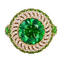 5.82 Carat Russian Demantoid Diamond 18 Karat Gold Cocktail Ring
