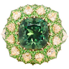5.82 Carat Russian Demantoid Yellow Diamond 18 Karat Gold Cocktail Ring
