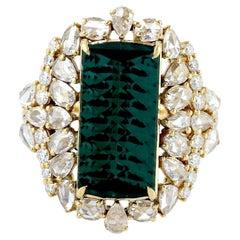 5.82 Carat Tourmaline Diamond 18 Karat Gold Ring