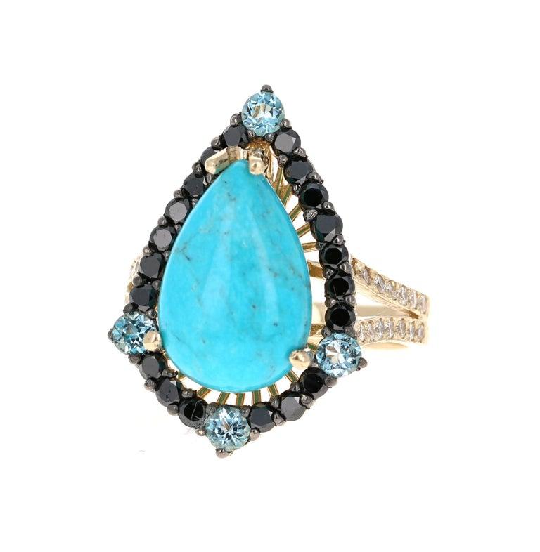 Modern 5.82 Carat Pear Cut Turquoise Topaz Black Diamond 14K Yellow Gold Bridal Ring For Sale