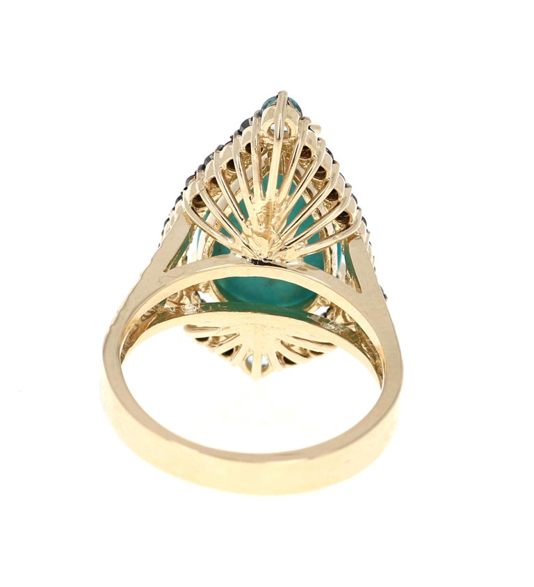 5.82 Carat Pear Cut Turquoise Topaz Black Diamond 14K Yellow Gold Bridal Ring In New Condition For Sale In San Dimas, CA