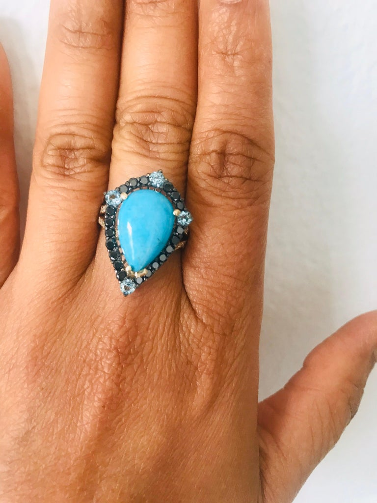 5.82 Carat Pear Cut Turquoise Topaz Black Diamond 14K Yellow Gold Bridal Ring For Sale 1