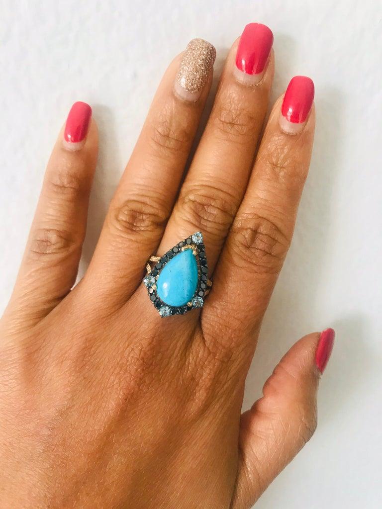 5.82 Carat Pear Cut Turquoise Topaz Black Diamond 14K Yellow Gold Bridal Ring For Sale 2