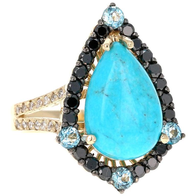 5.82 Carat Pear Cut Turquoise Topaz Black Diamond 14K Yellow Gold Bridal Ring For Sale