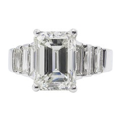5.82 Carat Vintage Emerald Cut Diamond Engagement Wedding White Gold Ring