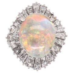 5.82 Ct White Opal Diamond Platinum Ballerina Cocktail Ring Fine Estate Jewelry