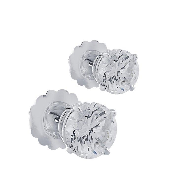 Modern Vivid Diamonds 5.83 Carat Diamond Stud Earrings For Sale