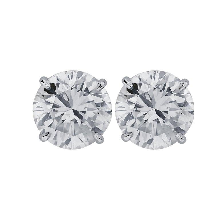 Round Cut Vivid Diamonds 5.83 Carat Diamond Stud Earrings For Sale