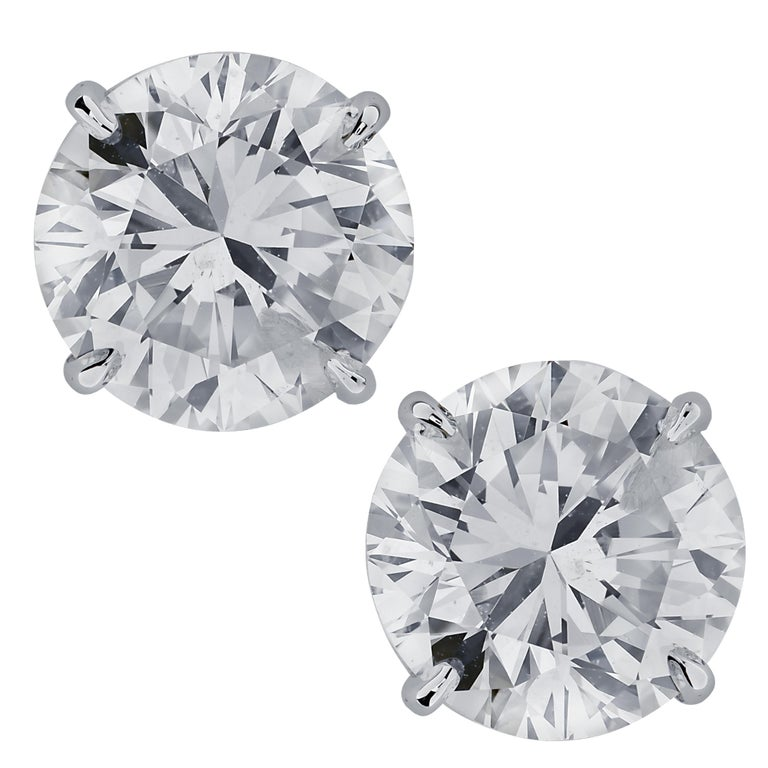 Vivid Diamonds 5.83 Carat Diamond Stud Earrings For Sale