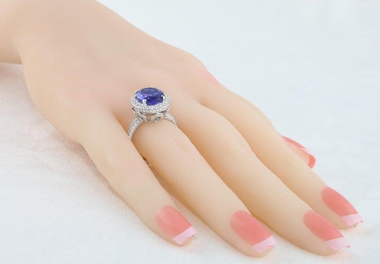 5.83 Carat Oval Tanzanite Diamond Gold Ring For Sale 1