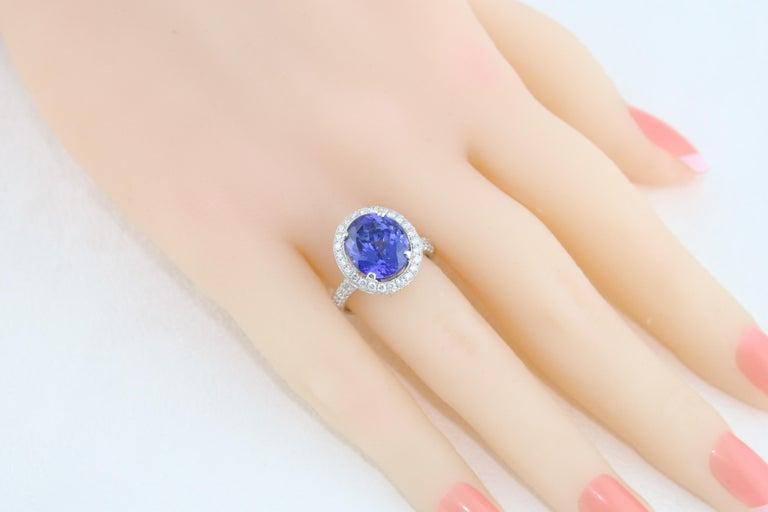 5.83 Carat Oval Tanzanite Diamond Gold Ring For Sale 2
